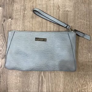 Jessica Simpson baby blue leather wristlet/wallet